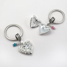 Heart Locket Keyring with Birthstone